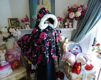 Guns and Roses inspired Bridal Cape 30-inch Floral Satin/ Black Satin wedding cloak Reversible Hooded With Faux Fur Trim Handmade in USA