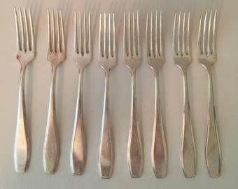 Vintage Silver Plated Forks Mid Century ~ Set of Eight