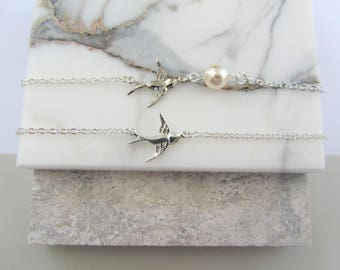 Swallow Charm Bracelet,Charm Bracelet,Swallow Bird Charm,Silver Charm Pearl,Silver Bracelet,Bridesmaids Gifts,Flower Girl Gifts,Gift for Her