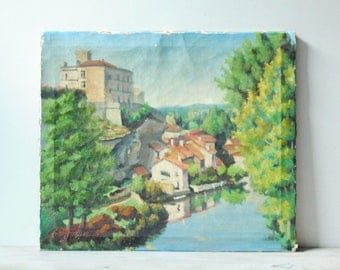 Vintage Oil Painting, River Scene Landscape Painting, European Town Painting