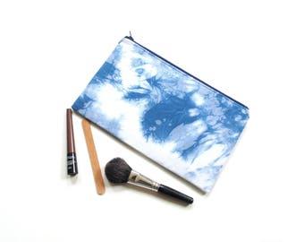 Slim zipper pouch, Shibori indigo tie dyed, makeup case, cosmetic case, pencil case, makeup bag, travel toiletry bag, back to school