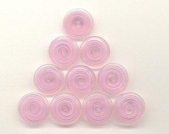 17mm range, Tom's lampwork veiled heavenly pink 2 disc spacer/drop set, 1 pair 95810-1