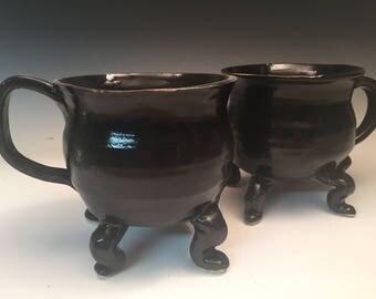 Pair of Curvy Cauldron Mugs: Dancing Cauldron Series