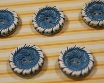Buffed Celluloid Buttons 7 Cornflower Blue Vintage Buffed Celluloid Buttons