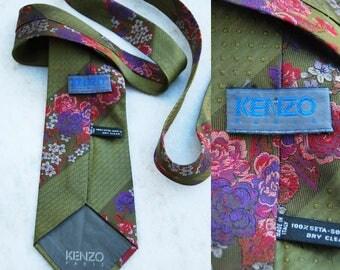 Kenzo Paris Tie Pure Silk Stripe and flowers Pattern Vintage Designer Dress green Necktie Made In Italy