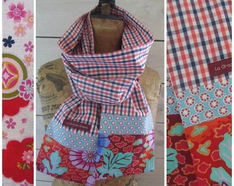 Scarf cotton gingham fabric, blue and coral red