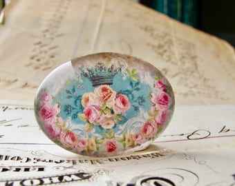 Horizontal 25x18mm glass oval cabochon, pink Victorian roses on aqua blue, handmade in this shop, Fabulous Floral collection, romantic
