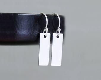 Small Bar Earrings, Tiny Bar Earrings, Sterling Silver Hammered or Smooth Rectangle Earrings