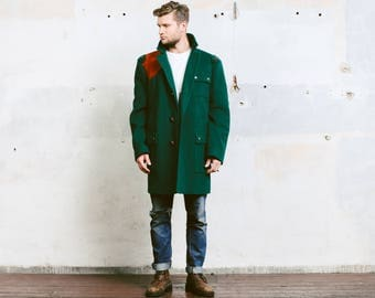 Men Winter Jacket . Vintage 70s Wool Coat Green Hunting Jacket Thick Insulated Oversized Outerwear Coat . size Extra Large