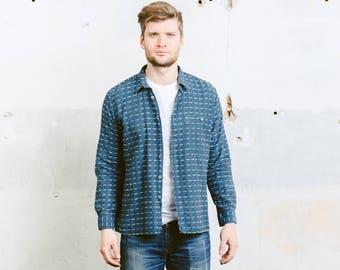 Vintage Textured Shirt . Mens 90s Striped Blue Shirt Aztec Print Cotton Button Down Peruvian Shirt 80s . size Medium M