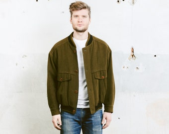 Green Wool Bomber Jacket . Vintage 80s Green Wool Jacket Coat Flight Aviator Jacket Outerwear Winter Bomber . size Small S