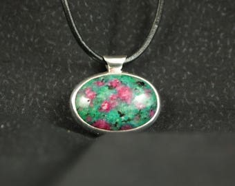 Ruby in Fuchsite  and Sterling Silver Pendant