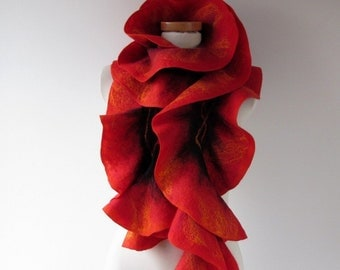 Felted ruffle scarf Red felt ruffle collar gift for her Wool warm scarf ruffle wool scarf Flame collar Fire scarf Red Black gift under 50