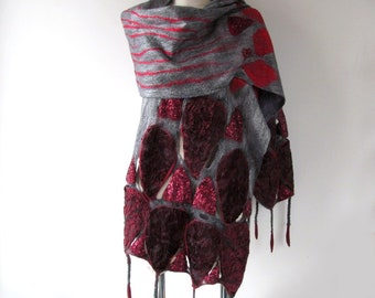 Felted scarf, Grey Wool felt scarf fringe scarf Grey Purple felted scarf geometric felted scarf long wool scarf by Galafilc