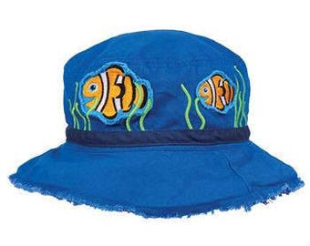 Monogram Stephen Joseph CLOWN FISH Bucket Hat Personalized Toddler Bucket Hat Embroidered Sun Hat Custom Toddler Hat