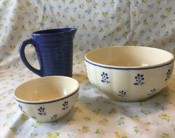 Blue flowered bowls from Belgium