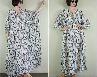Oversize Deep V Neck Gray & Black Graphic Printed Light Cream Light Silk Mix Cotton Women Caftan Poncho Dress Top Tunic