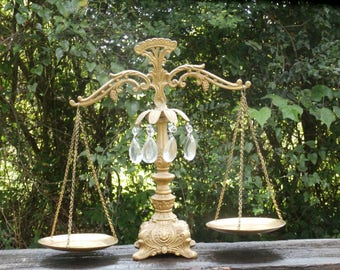 Ornate Gold Toned Metal and Crystal Decorative Scales by L&L WMC With Crystal Prisms 16 Inches Tall