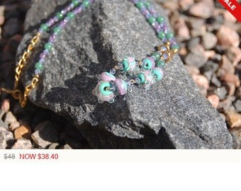 """Designer Lampwork Beaded Necklace, Lampwork Amethyst and Jade Necklace, """"Perfect Spice"""""""