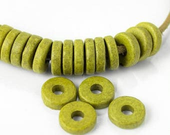 25%OFF 20 Mykonos beads round washer 8mm Round Spacers Flat Washers Disk Greek Ceramic bead green apple rustic ceramic spacer beads