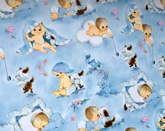 Vintage Hallmark Gift Wrap, Vintage Wrapping Paper, Vintage Baby Shower, Baby Boy