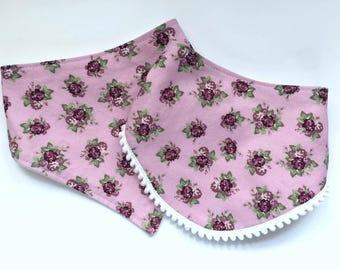 Fall Floral Bibs - Bibdana - Bandana Style Drool Bib - Pom Pom Bib - Baby Girl Gifts - Boho Baby - Shabby Chic Bibs - Plum Roses