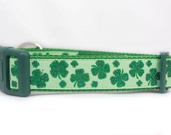 Glittery Shamrock Dog Collar - 1 inch wide collar - Irish dog collar - clover dog collar - green dog collar - st patricks day dog collar