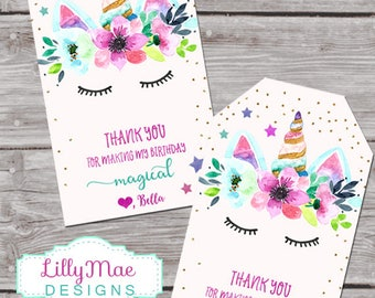 Unicorn Favor Tags, Unicorn Party Favors, Unicorn Tags, Printable, Personalized Favor Tags, Custom, Watercolor, Floral, unicorn favor,
