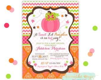 Pumpkin Baby Shower Invitation, Fall Baby Shower, Sweet Little Pumpkin, Girl Baby Shower, Printable Invitation, Autumn Baby, Pumpkin Shower