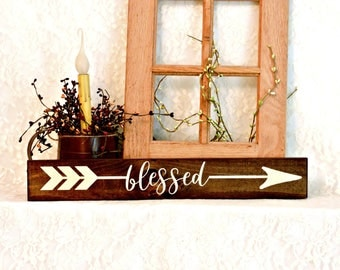 Blessed Arrow Sign - Primitive Country Painted Wood Sign, Wall Decor, Inspirational Sign, Thanksgiving Decor, Ready to Ship