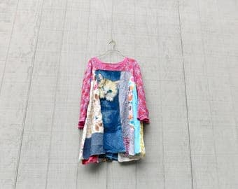 Tshirt Dress, Cat, Swing, Loose Fit, Upcycled Clothing, Summer Dress, Tunic, Upcycled Dress, Blue, Romantic, Boho, Simple, Aline