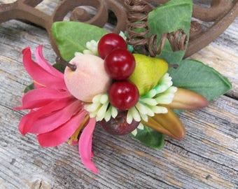 Tropical fruits  HAIR CLIP - Carmen Miranda Style - Retro -