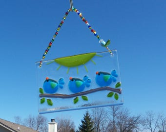 Blue Birds of Happiness Fused ARt Glass Suncatcher // Turquoise BLue // Sun Catcher // Sunshine // Family // Cheerful //Colorful // Get Well