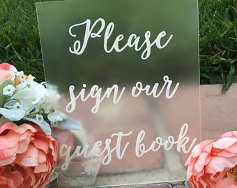 Guest Book Sign Acrylic Wedding Sign Custom 8x10 Calligraphy Acrylic Sign Acrylic Guestbook Sign Rustic Vintage Modern Weddings