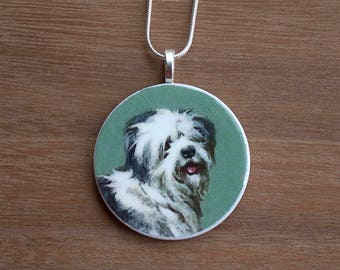 Sheep Dog Pendant Necklace, Sheep Dog Necklace, Sheep Dog Jewelry, Handcrafted Jewelry, Gift for Dog Lovers, Free Shipping in US
