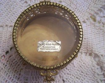 Vintage Ormolu Trinket Box, Filigree Jewelry Casket, Regency, 22Kt gold Plated, Beveled Glass, Non Tarnish