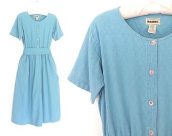 80s Day Dress * Sky Blue Dress * Cotton Shirtwaist Dress * Small / Medium