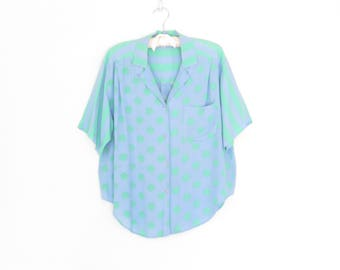 80s Pocket Blouse * Vintage Flutter Shirt * Polka Dots & Stripes 1980s Blouse * Medium / Large