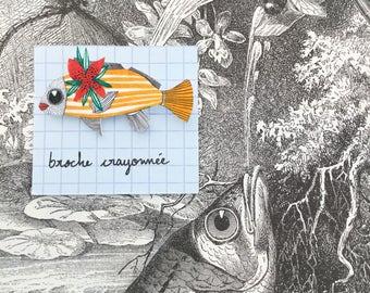 """Broche """"poissons fleuri"""" // pièce unique"""