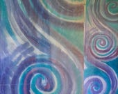 Purple and teal magic spirals scarf. Favorite colors scarf specially created for Kelsey