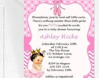 tutu baby shower invitation pink tutu princess caucasian african american printed invitations