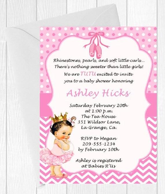 tutu baby shower invitation pink tutu princess caucasian