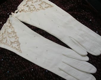 Vintage Bridal Gloves, Ivory Cut-Out Leather Gloves, NOS, Real Kid Leather, Made in Italy