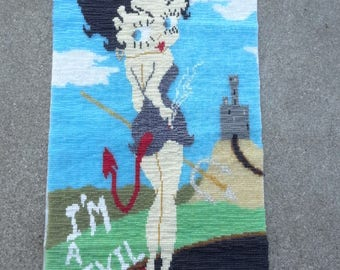 Vintage Betty Boop Beaded Picture - Beaded Wall Picture - I'm a Devil - Betty Boop Collectible - Home Decor - All Seed Beads -