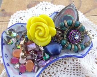 Peacock Purple Blue Vintage Findings from Jewelry, Purple - Iridescent Blue - Yellow Rose Ring - Vintage Jewelry Lot - D232