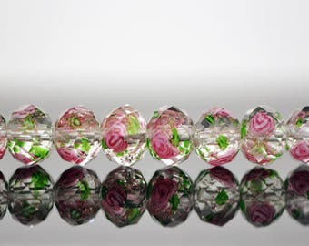 Floral Lampwork Glass Faceted Rondelle Beads 6x8mm  -(LL01-10) / 58Pcs