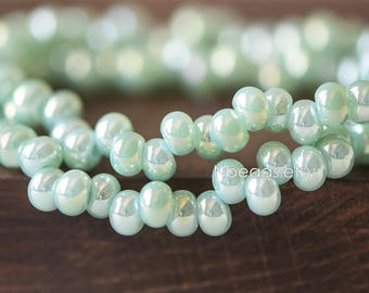 Crystal Glass Smooth Seed Beads 6mm, Sparkly Green AB (GM018-7)/ 95 beads full strand