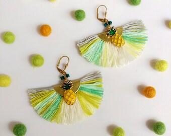 Pineapple Tassel Earrings, Fruit Earrings, Tropical Earrings, Trending Summer Jewelry, Mint Yellow Earrings