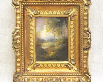 Antique Landscape Painting On Copper Panel, Castle, Italian, Rococo, Original Fine Art, Framed, Gilt Frame, Ornate, Hand Painted, Nature