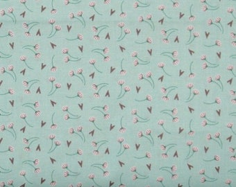 ON SALE SALE! White, Gray & Green Floral on Green 100% Cotton Quilt Fabric on Sale, Dandelion in Aqua, Camelot Fabrics' Make a Wish Cam22405